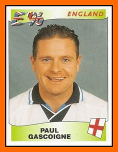 Paul Gascoigne of England. World Football, Football Soccer, Euro 96, Manchester United Premier League, Bryan Robson, Football Stickers, England Football, European Championships, Fa Cup