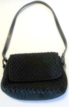 Liz Claiborne Black Crochet Hand/Shoulder Bag Purse Fully Lined  #LizClaiborne #SmallShoulderBag