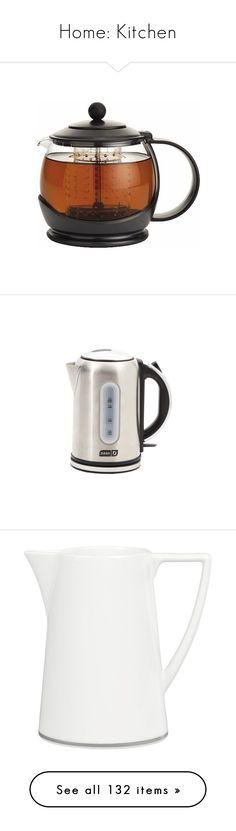 """Home: Kitchen"" by katiasitems on Polyvore featuring home, kitchen & dining, teapots, black, white tea pot, tea-pot, borosilicate glass teapot, tea pot, black tea pot and small appliances"
