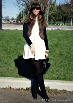 Winter White Dress with Fur Jacket