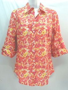 #Izod #ButtonDown #Shirt #Womens #Watercolor #Floral #3/4Sleeve #ButtonTab #Orange #Yellow #Purple #WomensFashion #SzS