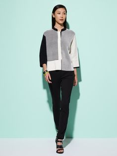 Color Block Silk-Cotton Pullover