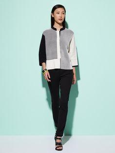 Color Block Silk-Cotton Pullover