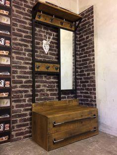 Hallway Furniture, Metal Furniture, Industrial Furniture, Furniture Design, Hall Bench With Storage, Bedroom Closet Storage, Cafe Wall, Industrial Living, Diy Chair
