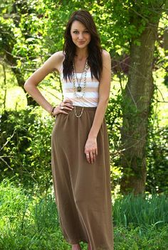 the perfect outfit for a breezy spring day {love the maxi skirt + stripped tank + long necklace}