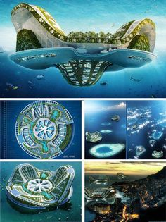 Eco Geek: 7 Near-Future Wonders of Modern Green Technology Lilypad Project. The idea is to create a series of floating self-sufficient ocean-going eco-city islands. Each one would be able to house residents and would support a great deal of biodiversit Architecture Durable, Futuristic Architecture, Sustainable Architecture, Amazing Architecture, Blender Architecture, Architecture Fails, Floating Architecture, Revit Architecture, Minecraft Architecture