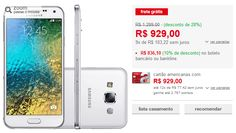 "Samsung Galaxy E5 Duos Dual Chip Android 4.4 Tela Amoled HD 5"" 16GB 4G Wi-Fi Câmera 8MP >"