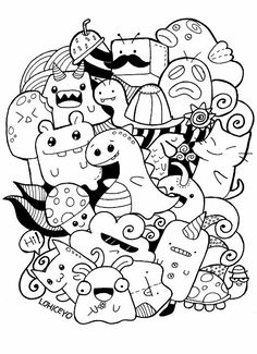 Coloring pages · free kawaii doodle printable Doodle Monster, Monster Drawing, Cute Doodle Art, Doodle Art Designs, Doodle Art Drawing, Doodles Kawaii, Cool Doodles, Simple Doodles, Cute Coloring Pages