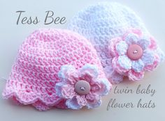 Baby Girl Flower Hats, Twin Hats, Striped baby Girl Beanies, 2 Baby Hats, Baby Girl Gift, Baby Shower Gift, Button Flower Hat, Photo Prop, Twin Baby Girls, Cute Baby Girl, Baby Girl Beanies, Baby Hats, Crochet Gifts, Hand Crochet, Cute Twins, Newborn Twins, How To Have Twins