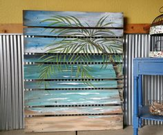 LARGE Hand painted Beach, Seascape horizon, ocean, upcycled, Distressed, Palm tree, Reclaimed Wood Pallet Art, Unique repurposed fence