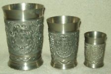 Set of 3 Vintage Rein Zinn W. Germany Pewter Relief Tumblers/Cups/Goblets