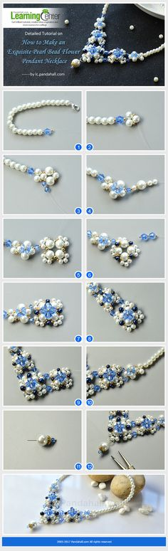 Detailed Tutorial on How to Make an Exquisite Pearl Bead Flower Pendant Necklace