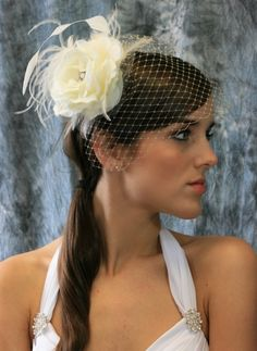 """""""Angela"""" Ivory Rose with Tulle Petals and Accent Feathers with Pearl and Crystal Brooch Birdcage Veil Set"""