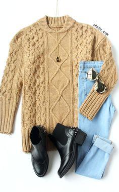 Khaki Crew Neck Diamondback Chunky Sweater
