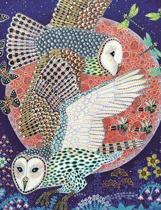 Esben Hanefelt Kristensen - Ugle under blodmåne 35 x 32 cm