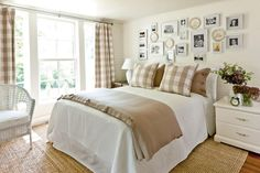 Khaki Gingham Bedroom - Gracious Guest Bedrooms - Southernliving. In this guest bedroom, classic patterns directed the color palette and design style. The bedisflanked bya pair of small-scale chests that addextra storage conveniently at bedside. Matching frames filled witha collection of family photos decorate the wallin a random pattern.