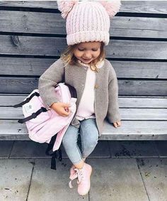 f4a211b6dd7 Super adorable toddler girl outfit for school. Love the cute pink winter hat.  Toddler