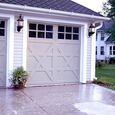 Ban boring garage doors by choosing a style with windows, molding details, or great hardware. Take a look at some of our favorites, and find inspiration to enhance your home's exterior! Carriage House Garage Doors, Garage Door Windows, Modern Garage Doors, Wood Garage Doors, Carriage Doors, House Doors, Garage Door Colors, Garage Door Styles, Garage Door Design