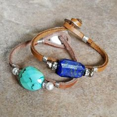 Sterling Wire Wrapped Leather Cord Bracelet with Faceted Turquoise - Turquoise and Rhinestones - Turquoise Nugget - Roca Jewelry Designs - - Sea Glass Jewelry, Wire Jewelry, Jewelry Crafts, Beaded Jewelry, Beaded Bracelets, Hippie Jewelry, Skull Jewelry, Tribal Jewelry, Yoga Jewelry