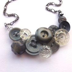 Vintage Button Necklace Glamorous Gray by buttonsoupjewelry