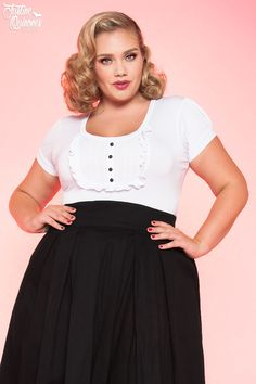 Dolly Top in White Stretch Cotton - Plus Size