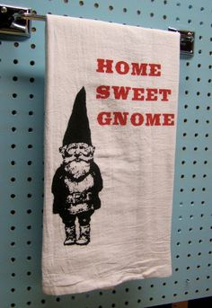 Kitchen Towel - Home Sweet Gnome - Red retro kitchen -Screen Print - Indie Housewares, by MoxieMadness