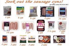 Sausage syns for slimmimg world Slimming World Sausages, Slimming World Puddings, Slimming World Syn Values, Slimming World Recipes Syn Free, My Slimming World, Slimming Word, Slimming Eats, Get Thin, Skinny Recipes