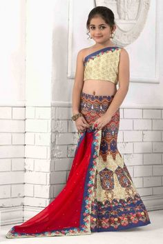 Cream and Blue silk semi stictch lehenga with silk choli. This lehenga choli is embellished with stone, embroidered and printed.Product are available in sizes. It is perfect for Festival Wear,Wedding Wear,Party Wear.   http://www.andaazfashion.co.uk/kids/girls