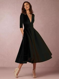 b8a29555e7 Solid Color V-neck Half Sleeves Evening Dresses