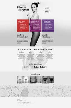 - Plastic Surgery Website Template is a clean and minimalist solution for building a medical website. Banners are the only bright elements here. These catch user attention and call to action. The tem… Web Minimalista, Plastic Surgery Photos, Botox Injections, Beauty Clinic, Operation, Chemical Peel, Rhinoplasty, Laser Hair Removal, Website Template