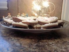 Christmas Candy made with almond bark (chocolate and vanilla) and a candy cane. Yummy and easy to make
