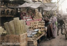 Kobe, 1906.  A booth selling items for the New Year celebrations. This image is part of The New Year in Japan, a book published by Kobe-based photographer Kozaburo Tamamura in 1906. Click on Read Full Article to read the original text that accompanied this image.