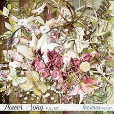 Free Digital Scrapbooking, Floral Wreath, Kit, Songs, Flowers, Image, Shop, Collection, Design