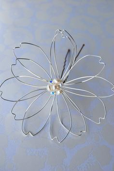 Large Wire Flower Hair Piece Flower Bobby Pin by DaisyDesigns4