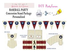 Baseball Party... Concession Stand Package Personalized!