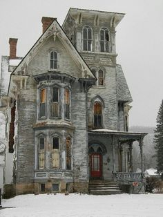 Nice setting with it being snowy and extremely old house.