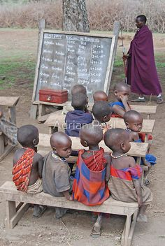 Tanzania, Africa by Adrian Paul. A small group of young Maasai children at their outdoor school village school in Northern Tanzania. We Are The World, People Around The World, Wonders Of The World, Around The Worlds, Tanzania, Kenya, Cultures Du Monde, World Cultures, Adrian Paul