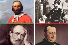 The various leaders of the Risorgimento, Giuseppe Garibaldi, King Vittorio Emmanuele II, Giuseppe Mazzini, Camillo di Benso Count of Cavour,