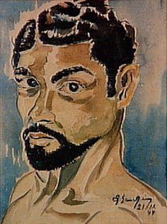 Auto-Retrato 1944 | Antonio Bandeira aquarela, c.i.d. 44.00 x 35.00 cm
