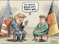 Angela Merkel meets Donald Trump - © Chappatte in The New York Times Political Memes, Political Satire, Political Cartoons, Trump Cartoons, Cool Cartoons, Jokes, Dragon, Mandala, Thoughts