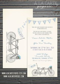 Tandem Bike Wedding Invitation Suite - Invitation and RSVP on Etsy, $31.79 CAD