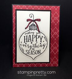 ORDER STAMPIN' UP! ON-LINE! Get tips on how to create this simple Happy Ornament Holiday Card. 1000+ card ideas & daily blog.