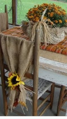 Fall Decor... Burlap and Sunflowers