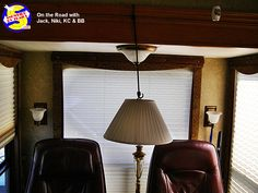 Do you have a floor lamp in your RV you need to secure for travel? It's one more thing we have found bungee cords good for. Cords, Floor Lamp, Rv, Ceiling Lights, Flooring, Lighting, Tips, Travel, Home Decor