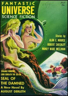 Virgil Finlay Science Fiction Pulp cover Seal of the Damned Fantastic UNiverse mermaid comic graphic novel Mermaid Cove, Mermaid Art, Siren Mermaid, Real Mermaids, Mermaids And Mermen, Science Fiction Books, Pulp Fiction, Tarot, Beneath The Sea