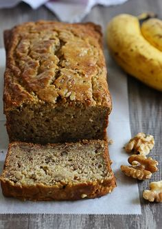 Low-fat, gluten-free banana nut bread made two-ways! My family went bananas for this!! My aunt...