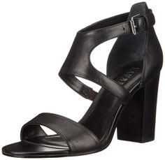 Lauren Ralph Lauren Women's Tahira Dress Sandal, Black Burnished Vachetta, 6 B US. Two-piece dress sandal featuring slender toe strap and adjustable ankle strap with buckle closure. Stacked block heel.