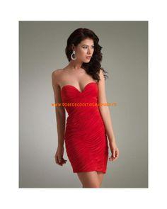 Rouge sans bretelle col en cœur plissé courte mousseline robe de soirée 2013
