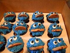 Cookie Monster recipe... http://zecookielounge.blogspot.co.uk/2012/04/cookie-monster-and-elmo-cupcakes.html