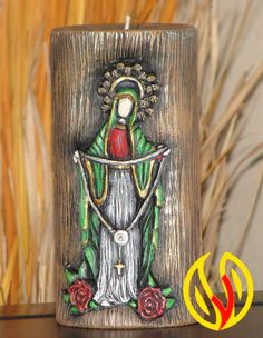 YLEANA CANDLES: Linea Religiosa Candle Accessories, Altered Bottles, Blessed Mother, Mother Mary, Christmas Art, Candle Holders, Arts And Crafts, How To Make, Painting